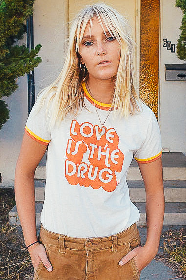 Love is the Drug Double Ringer Tee - The Canyon