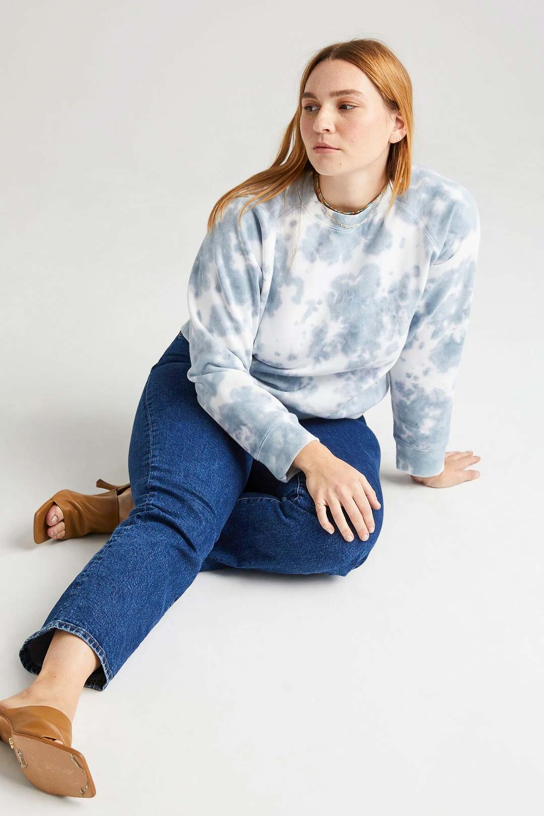 Recycled Crew Sweatshirt - Blue Mirage Tie Dye - The Canyon