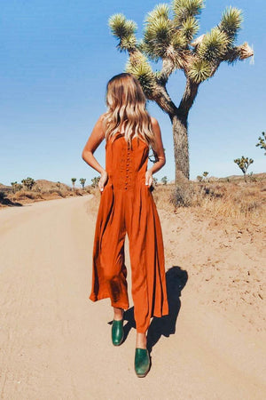 Jumpsuit with Embroidery - Rust - The Canyon