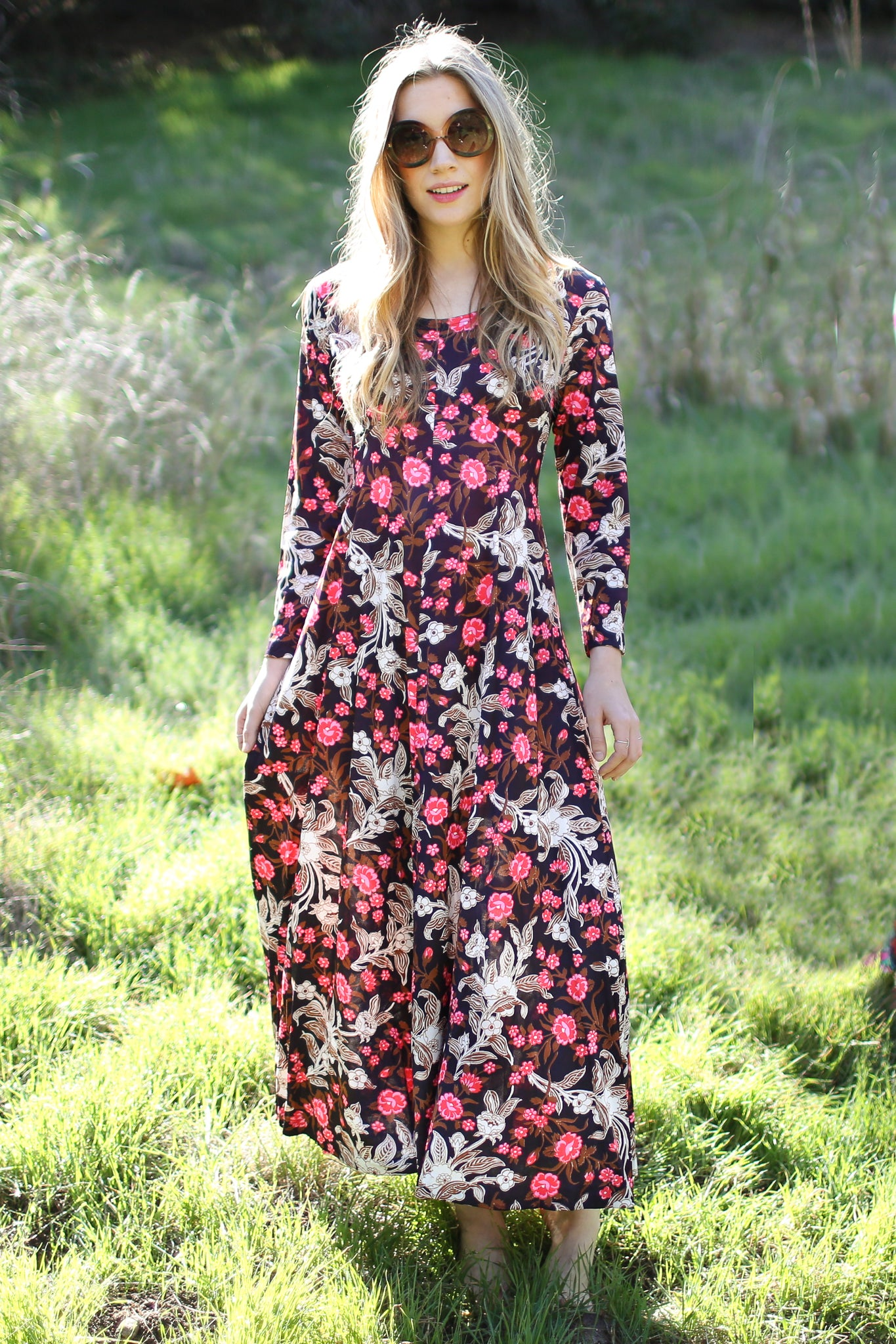 Vintage Floral Maxi Dress - The Canyon