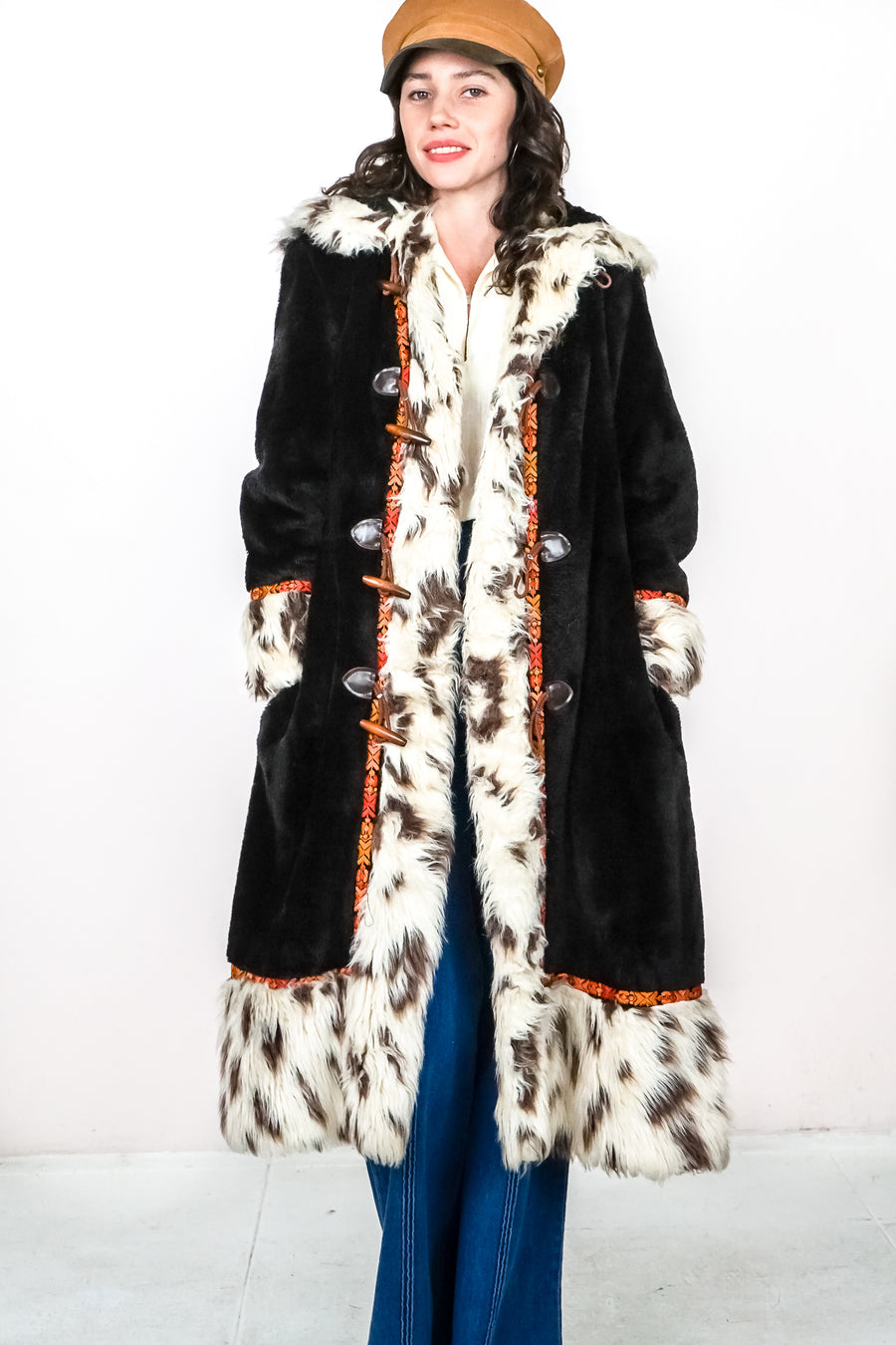 Vintage Folk Fur Maxi Coat - The Canyon