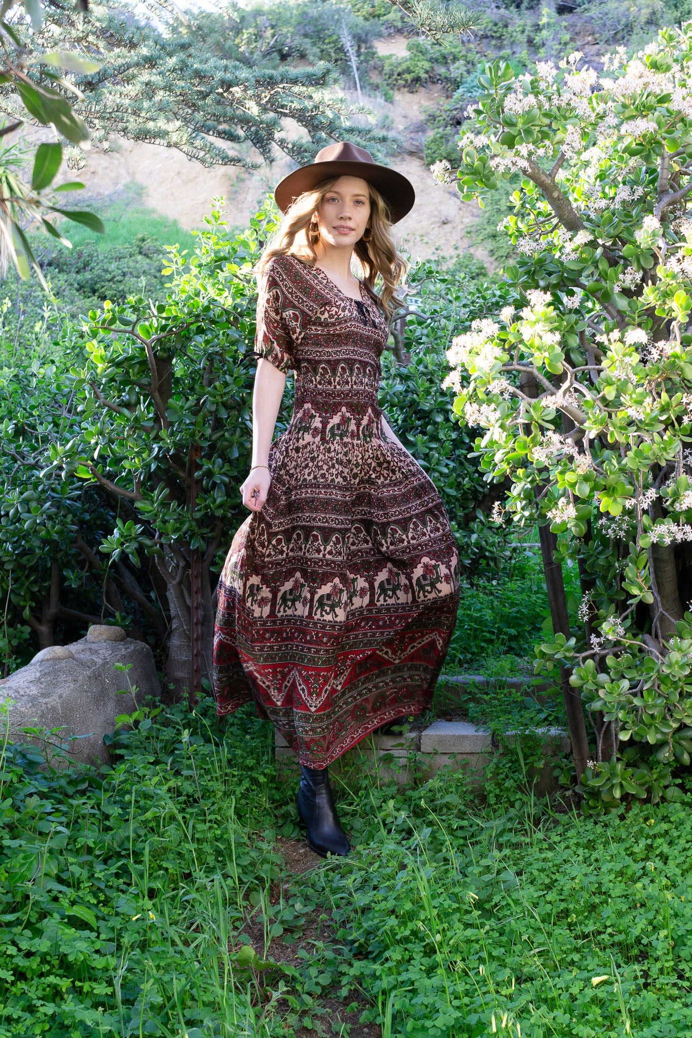 Vintage Smocked Maxi Dress - The Canyon