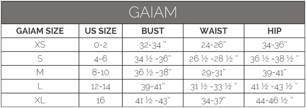 gaiam size guide