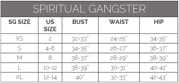 spiritual gangster size guide