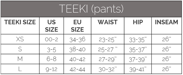 teeki size guide pants