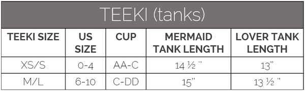 teeki size guide tanks