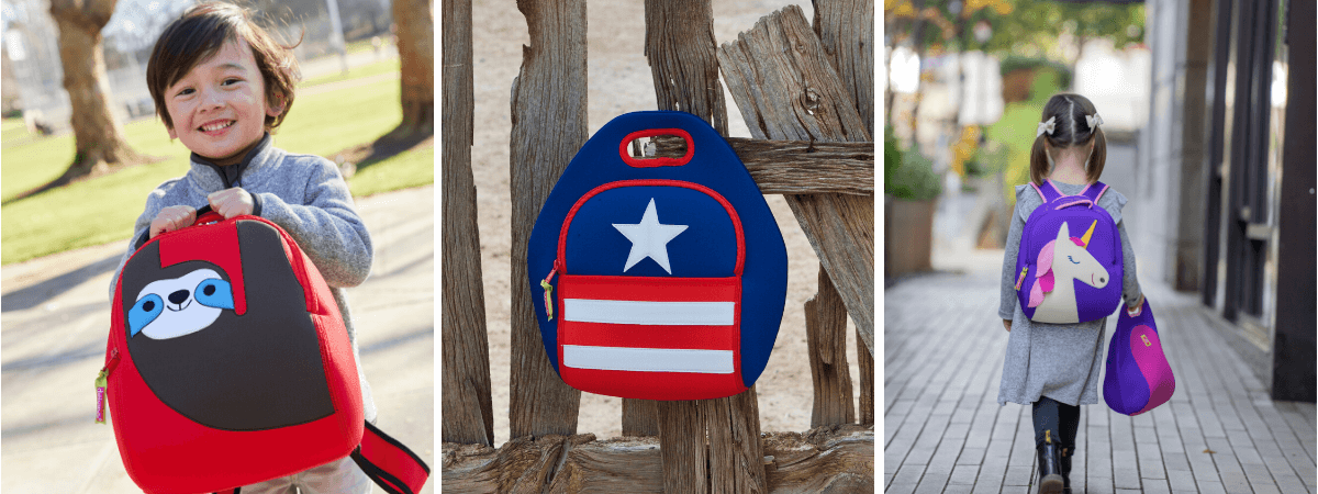 Dabbawalla Bags Kids Preschool Backpacks and Lunch Bags. Washable Sloth and Unicorn. Modern Stars and Stripes Lunch Bag