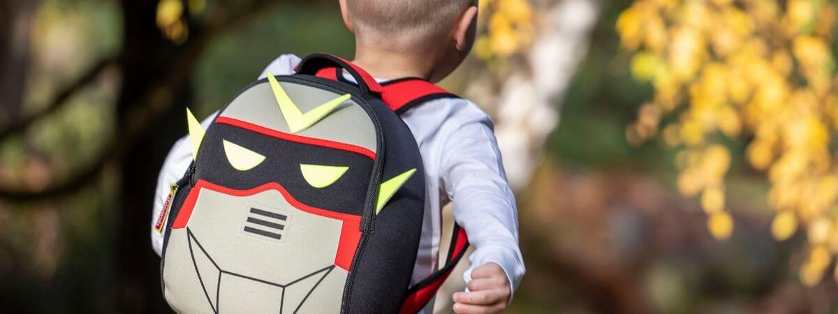 Robot-themed kid's backpack by Dabbawalla Bags.