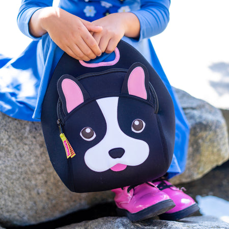 An adorable french bulldog lunch bag and school girl.
