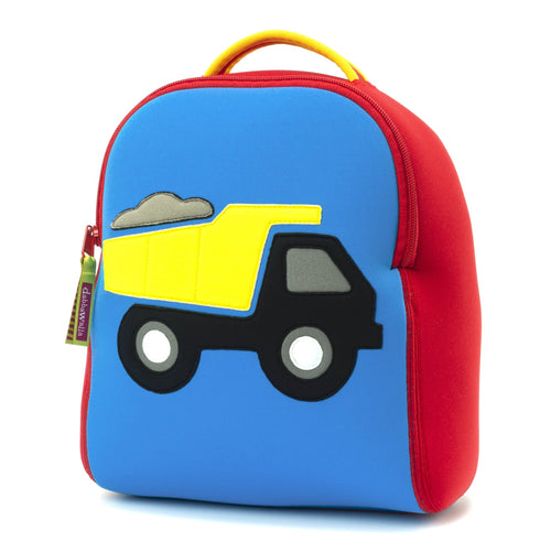 Truck-themed harness backpack for toddlers by Dabbawalla Bags
