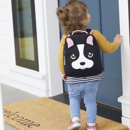 French Bulldog Harness Backpack with adjustable straps and a secure, detachable tether.