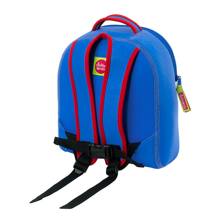 Back view airplane mini backpack by Dabbawalla Bags. Red and Blue harness with tether.