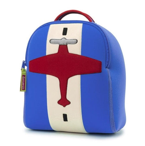 Front view of Airplane harness backpack by Dabbawalla Bags. Eco Friendly material for preschool kids. Red Airplane on blue bag.