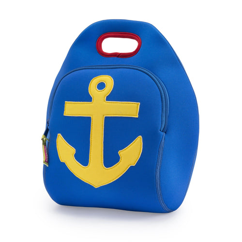 Yellow anchor is appliqued on a royal blue machine washable lunch box from Dabbawalla Bags.
