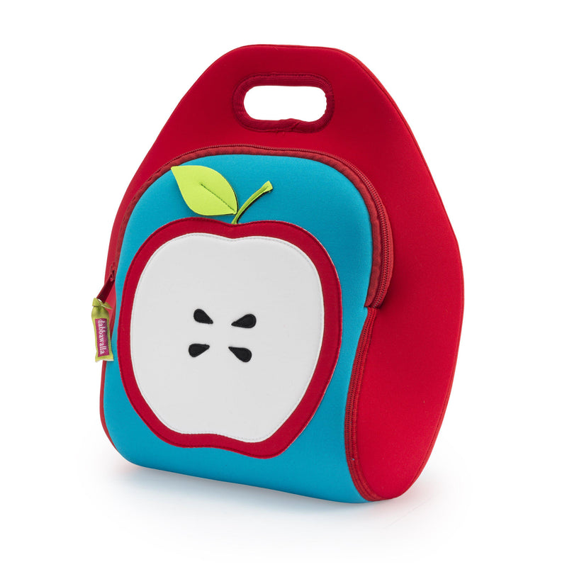 Fresh Apple design is stitched on the front of a Dabbawalla  lunch-bag. The red and white apple is a great contrast against the turquoise front panel.  Side panels are red. Bag is machine washable and eco freindly material