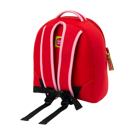 Backview of Dabbawalla Cherry Harness backpack. Soft straps and detachable tether.