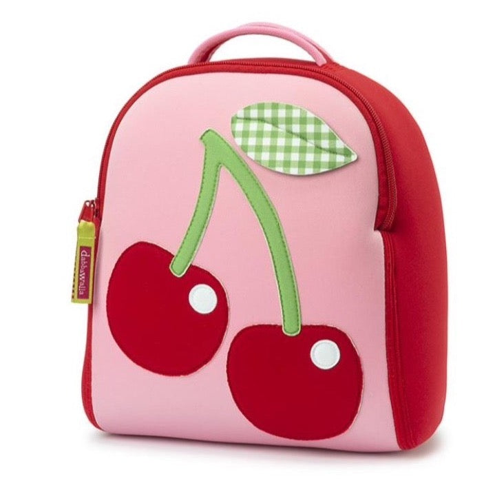 Front view of Cherry Harness Backpack. Pink and red mini size.