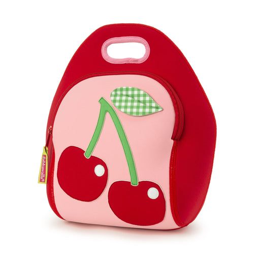Cherry Lunch Bag by Dabbawalla Bags. Large red cherries with a green gingham leaf on a light pink front panel.  Red side panels and a pink contrast binding on the handle.