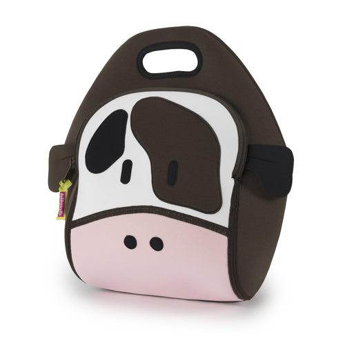 Front view of the Holy Cow Lunch Bag by  Dabbawalla Bags.  Cow design is appliqued to the front of washable lunchbag.  Black and brown eye patch and ears.  Pink nose and the brown sides form and integrated handle..