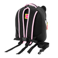 Back view of French Bulldog Harness Backpack. Detachable tether with pink and black design.