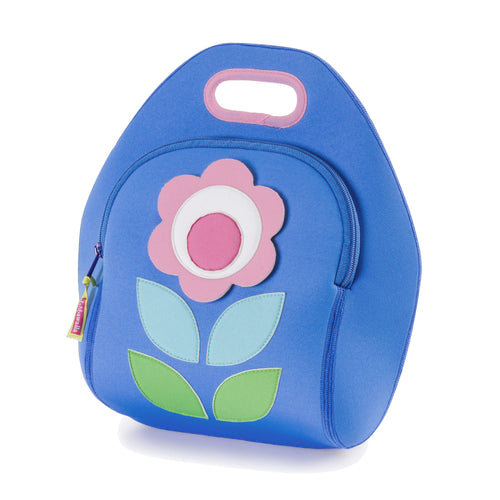 Flower Petal Lunch Bag by Dabbawalla Bags.  Modern shapes form a simple flower on the front panel of lunchbox.  The bag is a soft blue with pink flower and shades of green leaves. Made of environmentally-responsible, 100% toxic-free material, this machine-washable lunch tote is sized to accommodate a wide-range of food containers.
