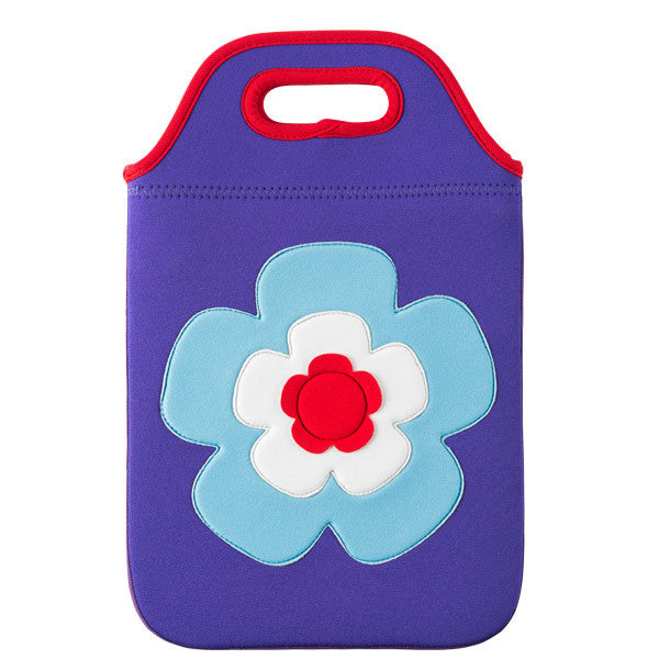 Flower Power Tablet Carry Bag by Dabbawalla Bags Dabbawalla Tablet Bag is perfect for packing up a tablet, earphones, and chargers all in one handy case.  Purple case with bright blue, white and pink large flower on the front.
