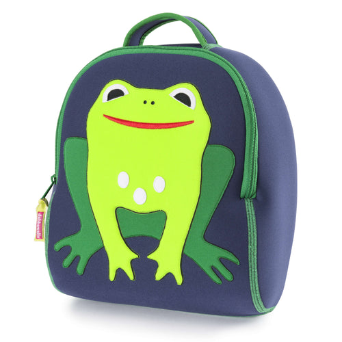 Bright green frog with wide red smile is stitched on the front panel of navy preschooler backpack.  Contrast green zipper and flat lock stitching.
