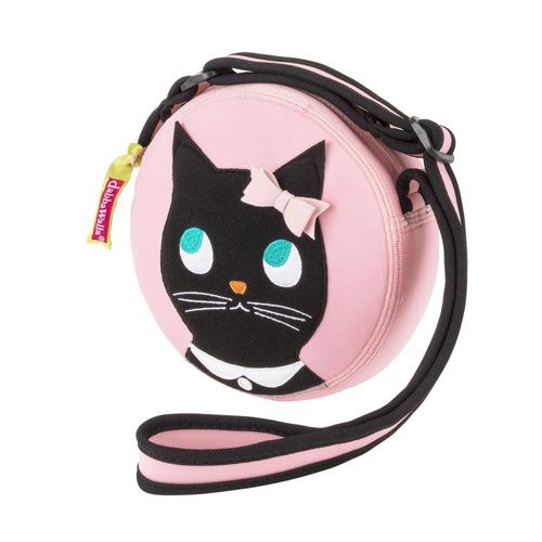 Round Miss Kitty cross body bag .  Ballet pink bag with a cute black kitty appliqued on the front panel.  Kitty has wide jade eyes, a pink bow ,  white collar and charm.  Strap is fully adjustable.