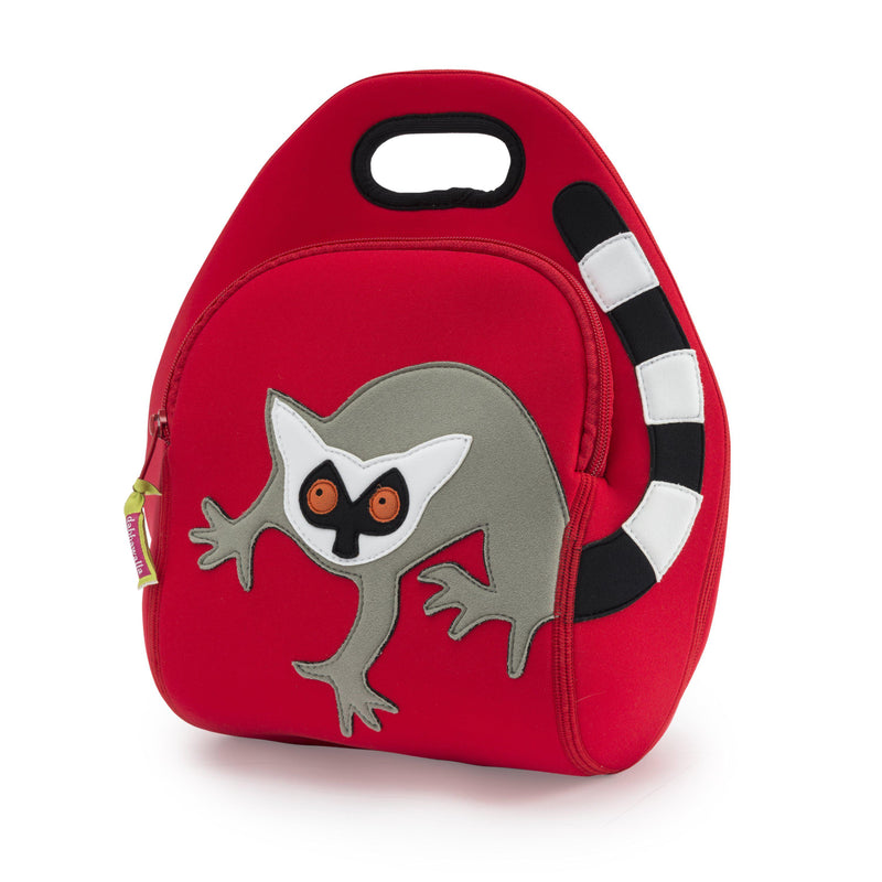 Bold grey lemur with black and white stripe tail on a red lunchbag.