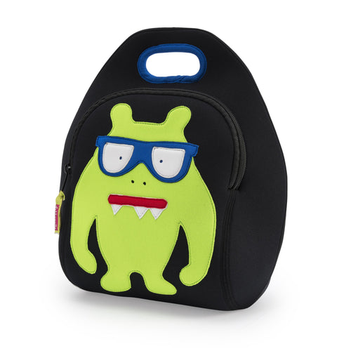 Green monster with snaggle teeth and blue eyeglasses sewn on the front of  the black lunchbox by Dabbawalla Bags