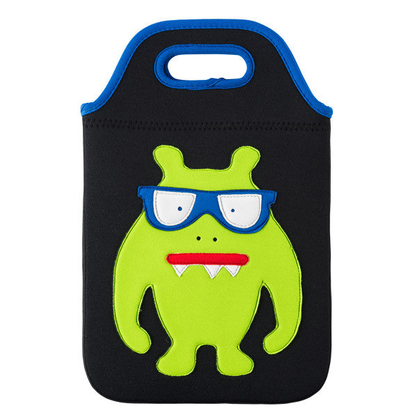 Green monster with snaggle teeth and blue eyeglasses sewn on the front of  the black tablet carry case by Dabbawalla Bags