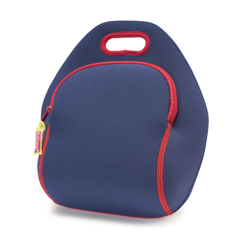 Classic navy lunch-bag with contrast stitching and zipper.  Bag is made from a machine washable, sustainable foam.