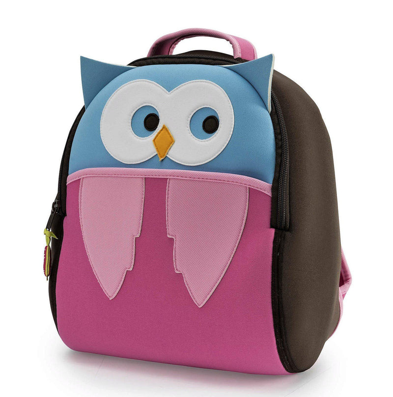 Front view of Hoot Owl Backpack by Dabbawalla Bags.  Owl design is appliqued on the front panel. Head and ears are light blue, the body and wings dark and light pink.