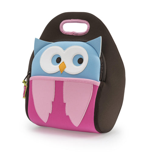 Hoot Owl Lunchbox from Dabbawalla Bags. Cute owl design appliqued on the front panel features  big white eye circles on a blue ground with blue ears.  Light pink wings on a dark pink ground form the body.  Brown side panels with light pink trim on the handle.