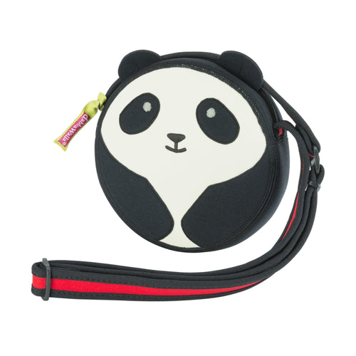 Cute panda black and white cross-body  round bag from Dabbawalla Bags.  White front panel with black eye  patches, ears and arms.  Red adjustable strap with black binding.