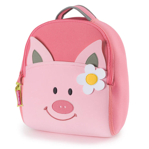 Pink Piglet backpack has a light pink front pocket on a bright pink body.  Piggy has a smiling face and white daisy below the ear.