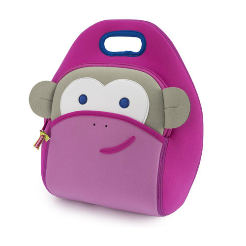 Dabbawalla pink monkey lunch box.  Grey forehead and ears with white eye patch.  Large front pocket for snacks or notes.  Royal blue trim on integrated handle