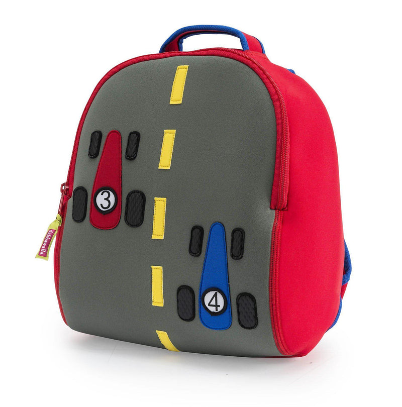 Race Car Backpack .  Two  formula one cars race to the finish line .  Grey center panel with bright yellow lane marker.  Royal blue side panel, contrast red zipper and flatlock stitching.  Red binding on easy grab handle.
