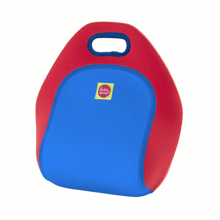 Back view of Race Car lunchbox from Dabbawalla Bags. Bright red back panel with royal blue side panel. Material is a lightweight, Eco-friendly washable material.