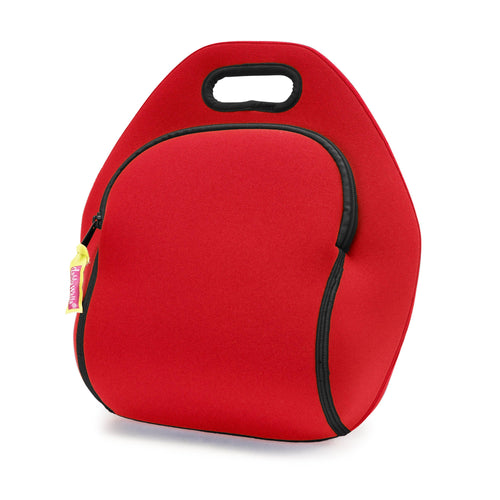 Bright red insulated lunch- bag.  Black zipper and trim on easy grab integrated handle.