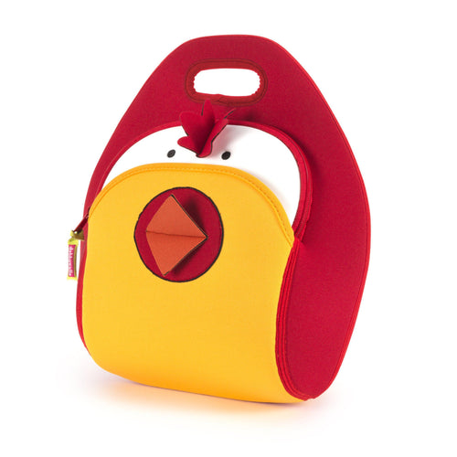 Modern chicken design on the Dabbawalla Bags washable lunchbag. Bright yellow face, red and orange peak and red side panels.