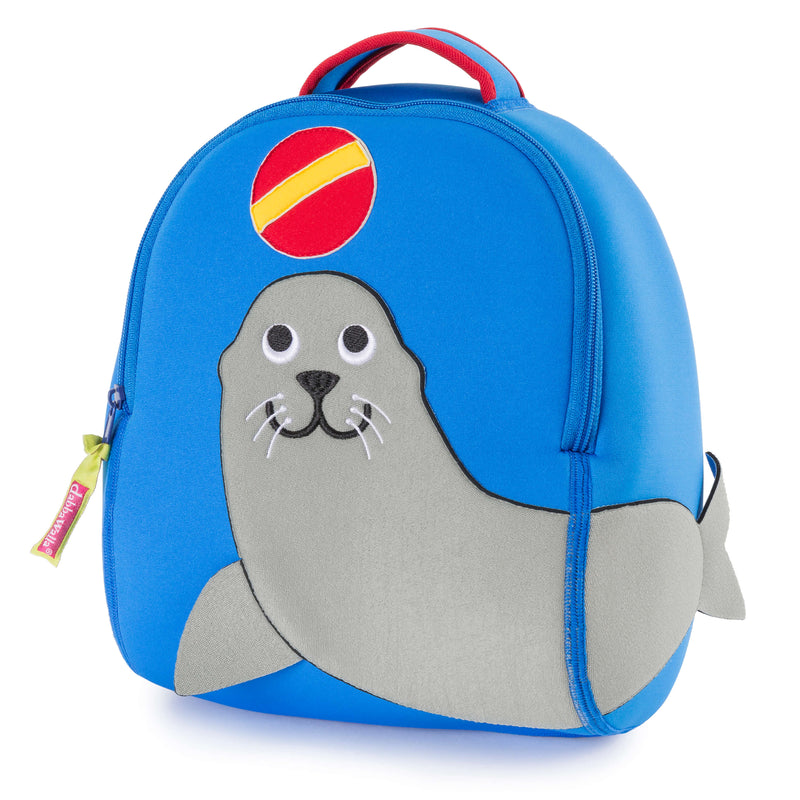 Preschool blue backpack with grey sea lion design on the front of the bag.  Sea Lion is looking up at a ball.  Tail wraps around to side panel.