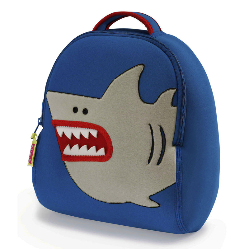 Preschool Shark backpack.  Marine blue with grey cartoon shark.  Large teeth and red mouth.
