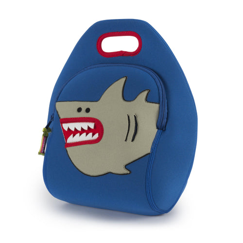 Shark lunch bag.  Marine blue  bag with grey cartoon shark on front.