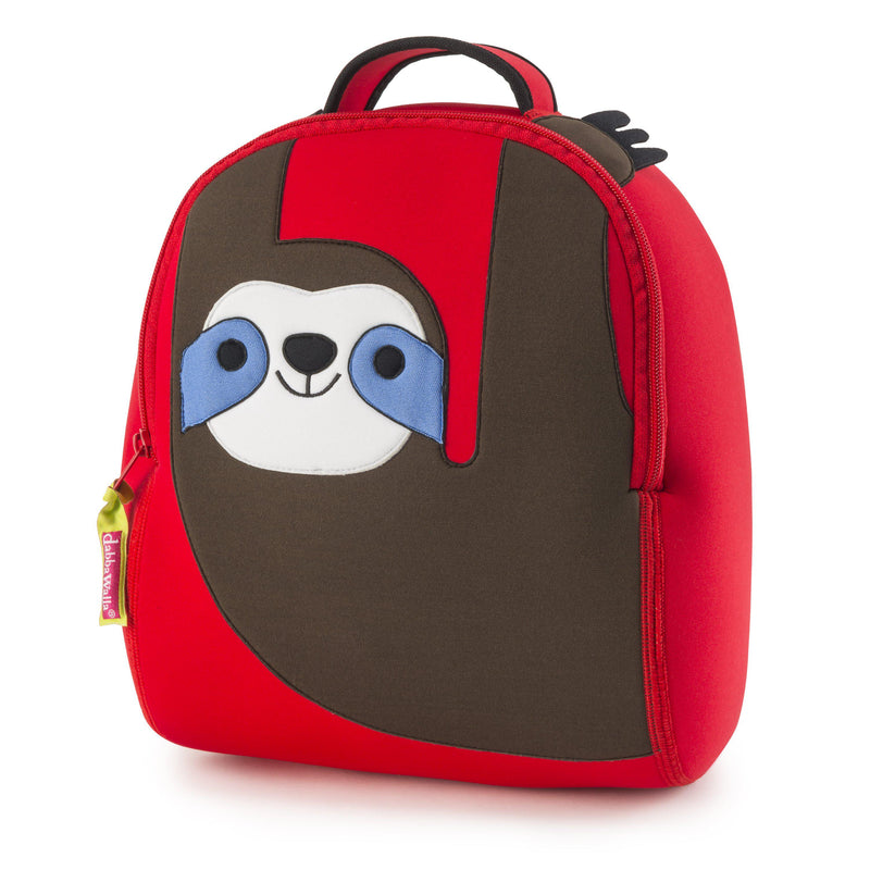 Red Sloth preschool backpack.  Brown sloth design hangs from top of the pack.  The smiling sloth is happy to hang all day with you at school.  Backpack is made of a lightweight washable foam material.