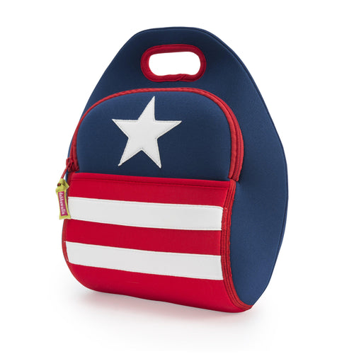 Patriotic red and white and blue washable lunch-bag.  Lunchbag is made from a sustainable lightweight material that is eco-friendly and toxic free..