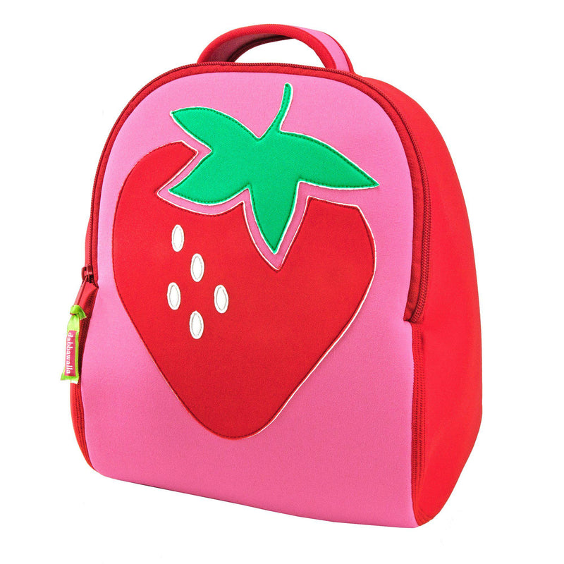 Large strawberry on front of pink and red preschool Dabbawalla backpack. Outlet sale