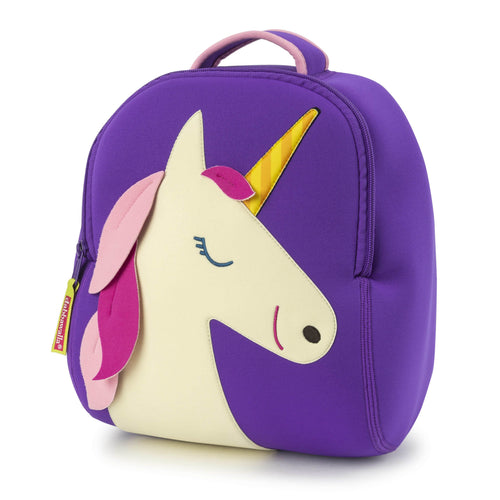 Purple Unicorn backpack from Dabbawalla Bags.  Sweet smiling unicorn face accented with a pink mane and yellow stripe horn . Top grab handle has pink contrast binding.  Quality zipper allows wide opening to roomy interior. Material is a washable, lightweight foam similar to neoprene.