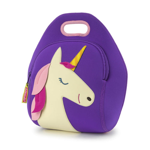 Purple Unicorn lunch bag from Dabbawall Bags. Cute white unicorn face with pink mane and yellow stripe horn stitched on the front of the bag.  Bag material is a washable lightweight foam.  Inside are two mesh pockets for water bottle and ice pack.