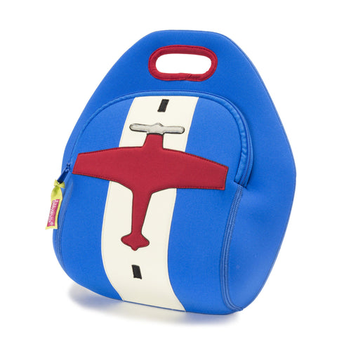 Airplane themed insulated and machine-washable lunch bag by Dabbawalla Bags.  Blue bag with red airplane  on a white runway.